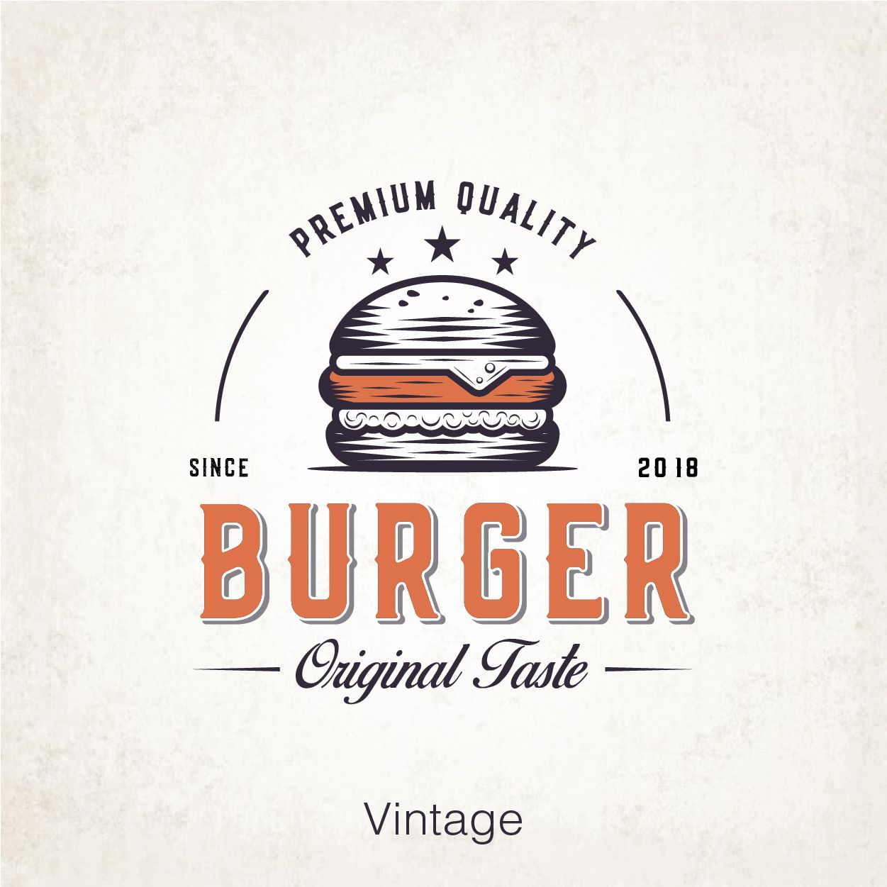 Fast food burger Retro logo, old graphic vintage style