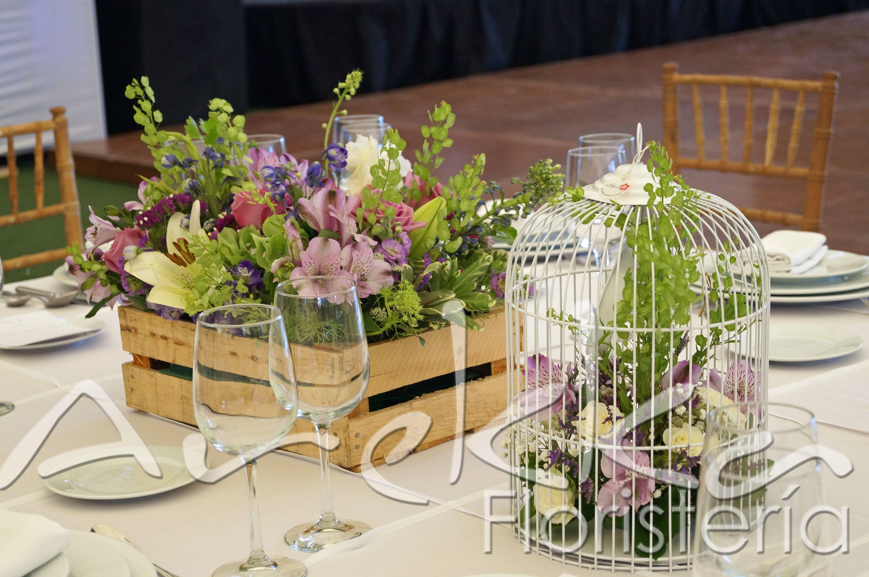 Centro de mesa tipo vintage jaula huacal decoracion for Centros de mesa para salon