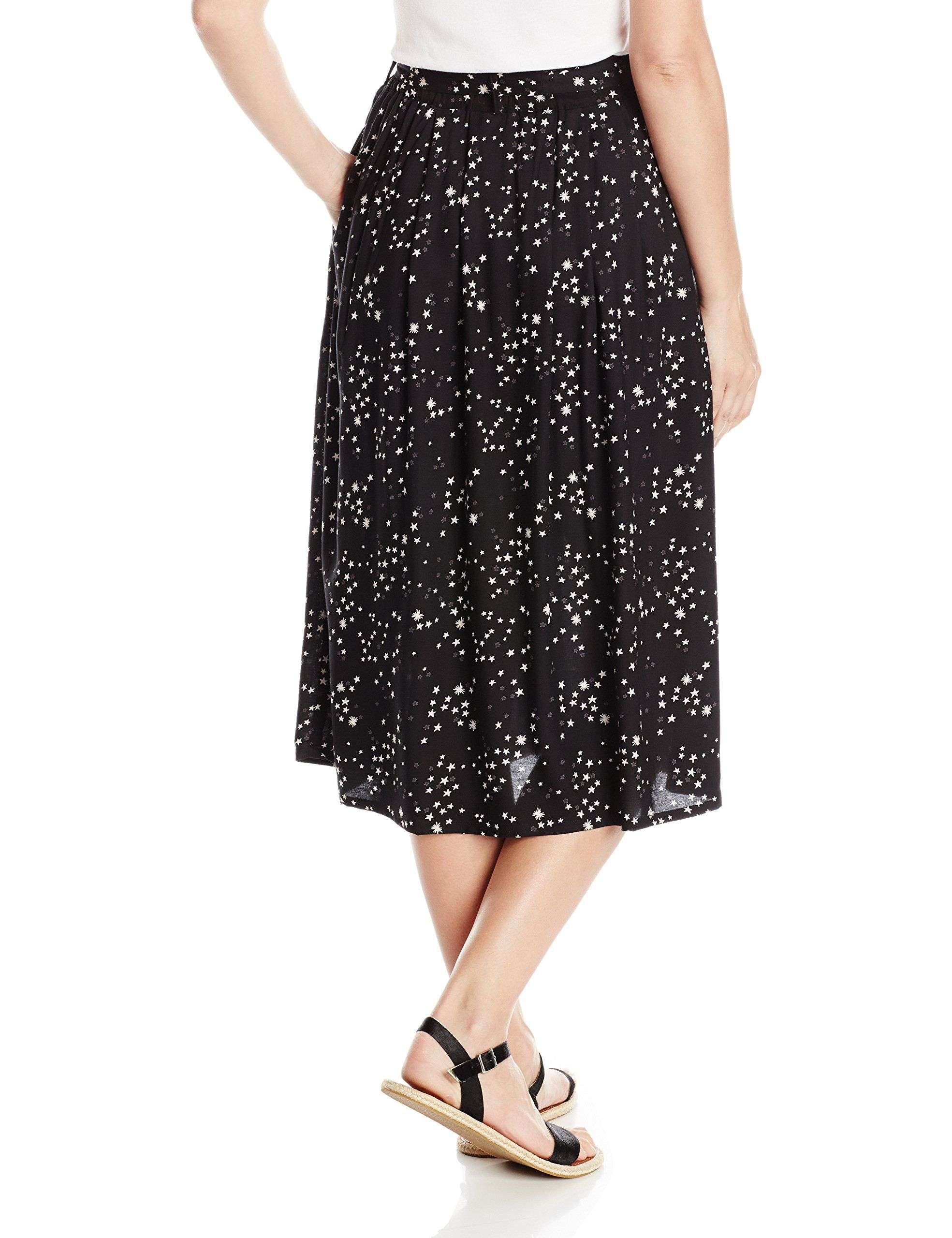 c71488d53 Angie Womens Star Printed Midi Skirt with Tie Waist Black Small -- You  could discover