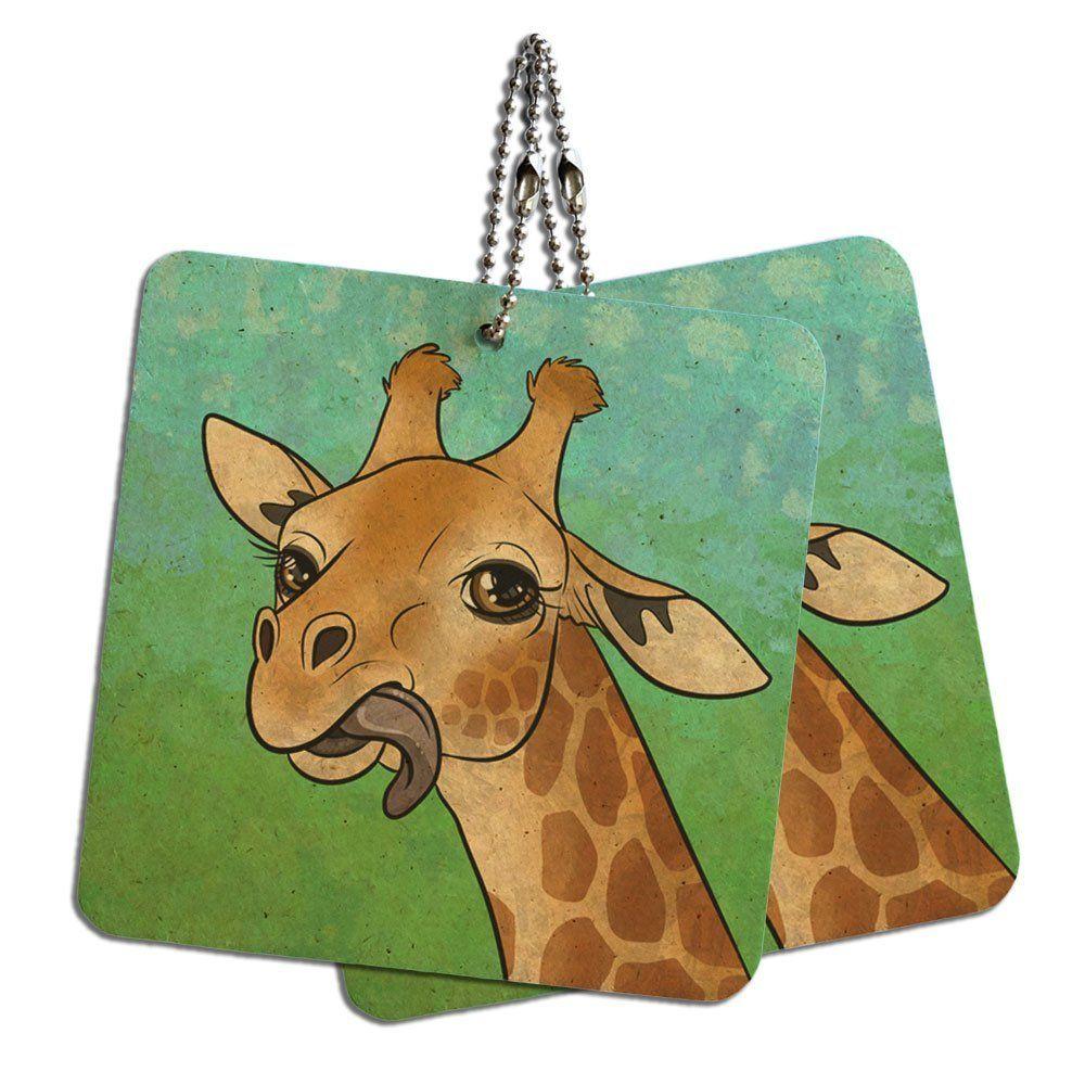 Giraffe sticking tongue out wood mdf 4 x 4 mini signs