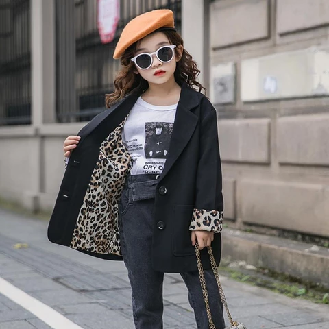 Teenage girls fashion Leopard print blazers coats 2019 spring autumn new long sleeve loose outerwear for children clothes ws955 #teenagegirlclothes Products– thefashionique #teenagegirlclothes