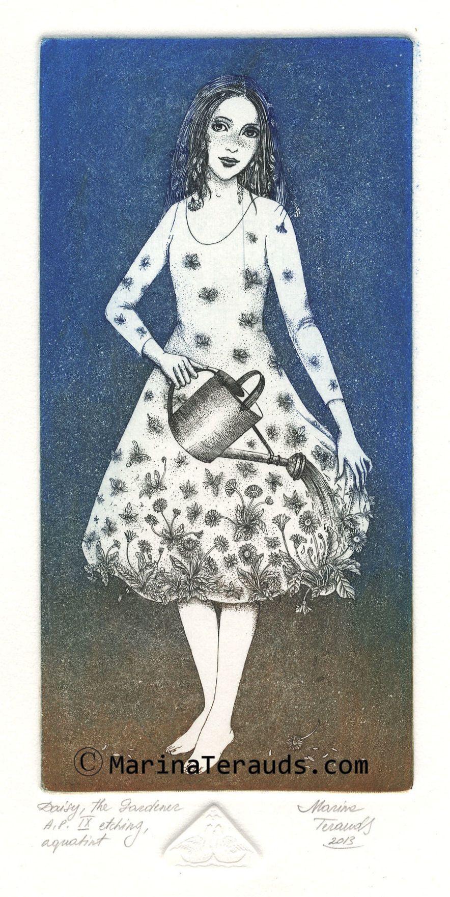 Daisy by Marina Terauds, etching, aquatint
