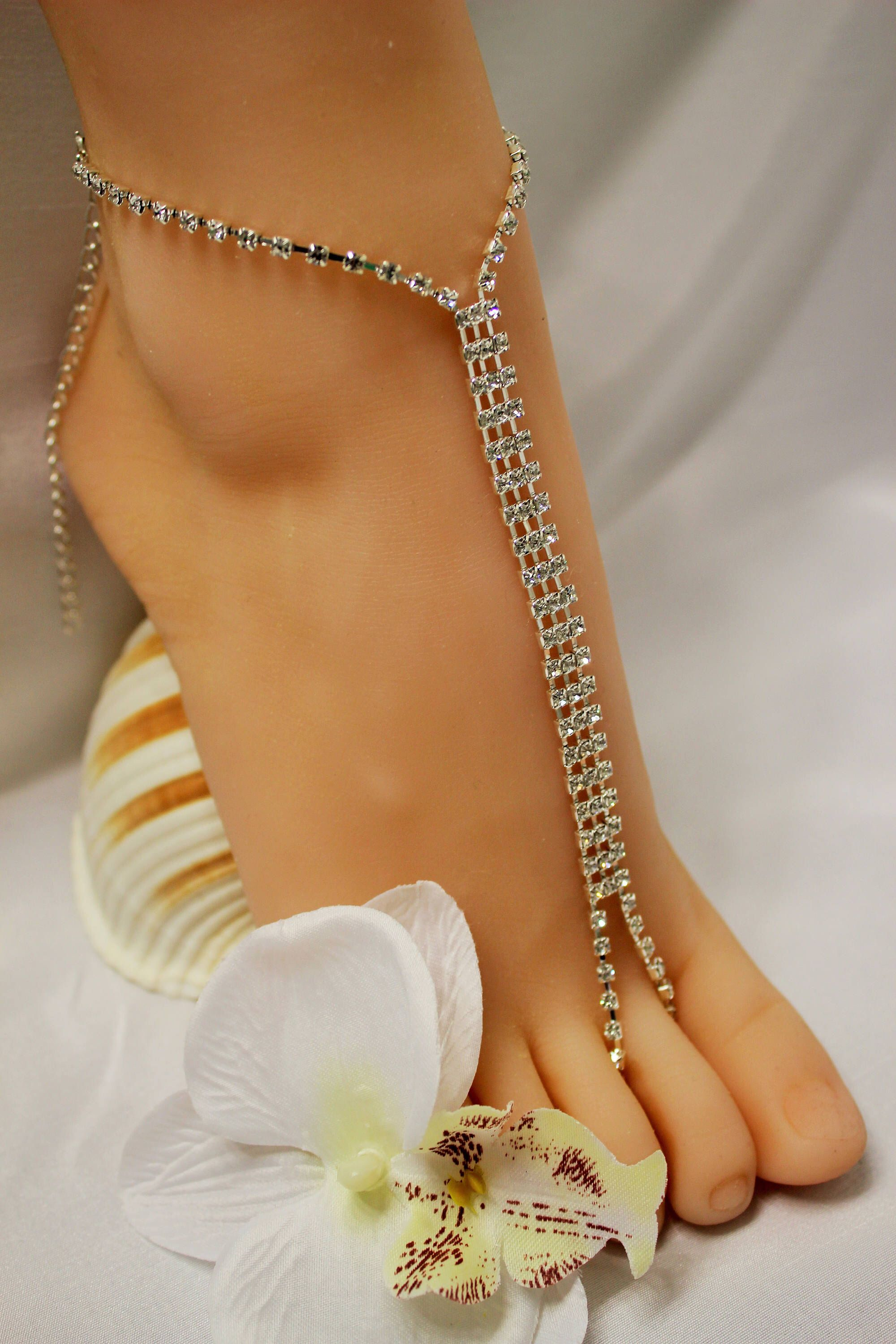 anklet rhinestone dbdd toe ring crystal barefoot jewelry with accessory chain sandal beach collections products wedding foot