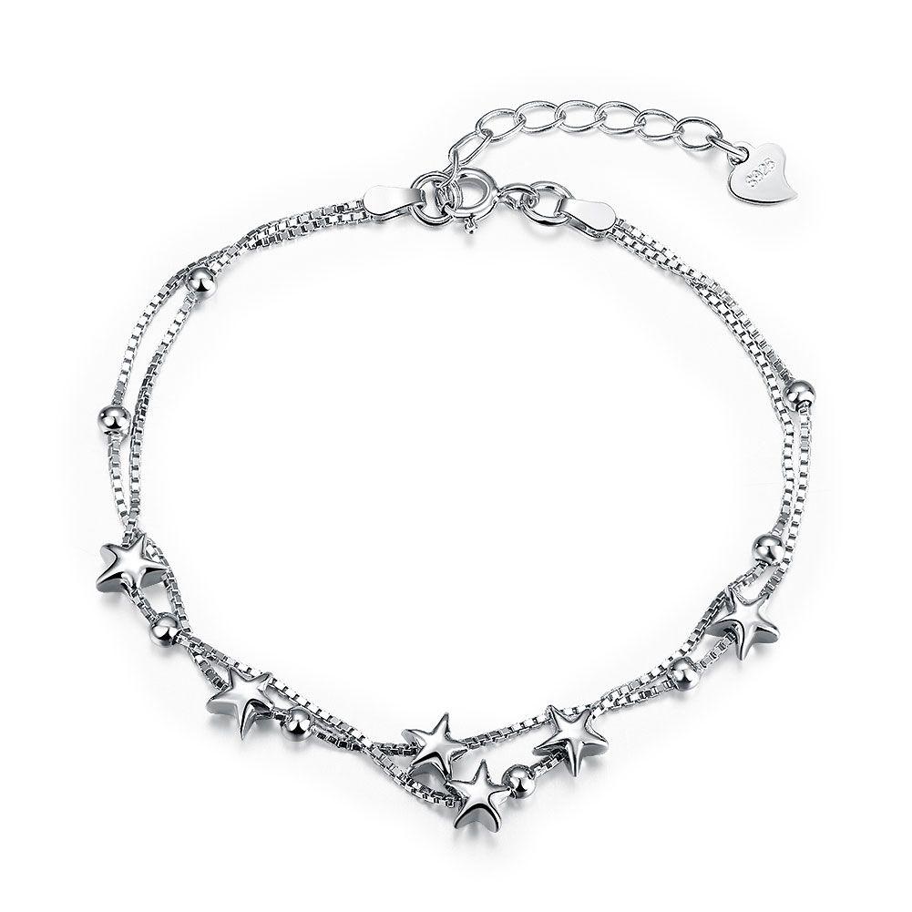 Womenus sterling silver bridal chain bracelet zircon bowknot