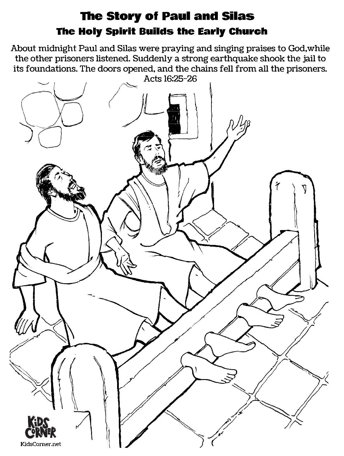 Free Coloring Page The Story Of Paul And Silas In