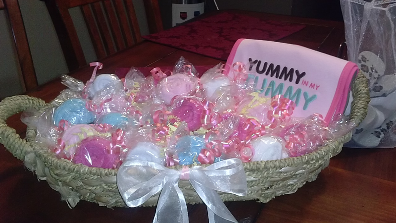 """""""Candy"""" Washclothes for Baby Shower-including bib"""