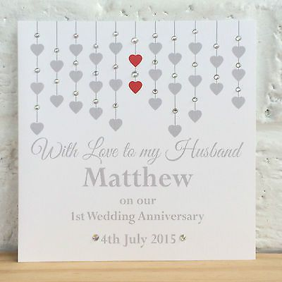 Handmade Personalised Wedding Anniversary Card Husband Wife 1st 25th 30th 40th View