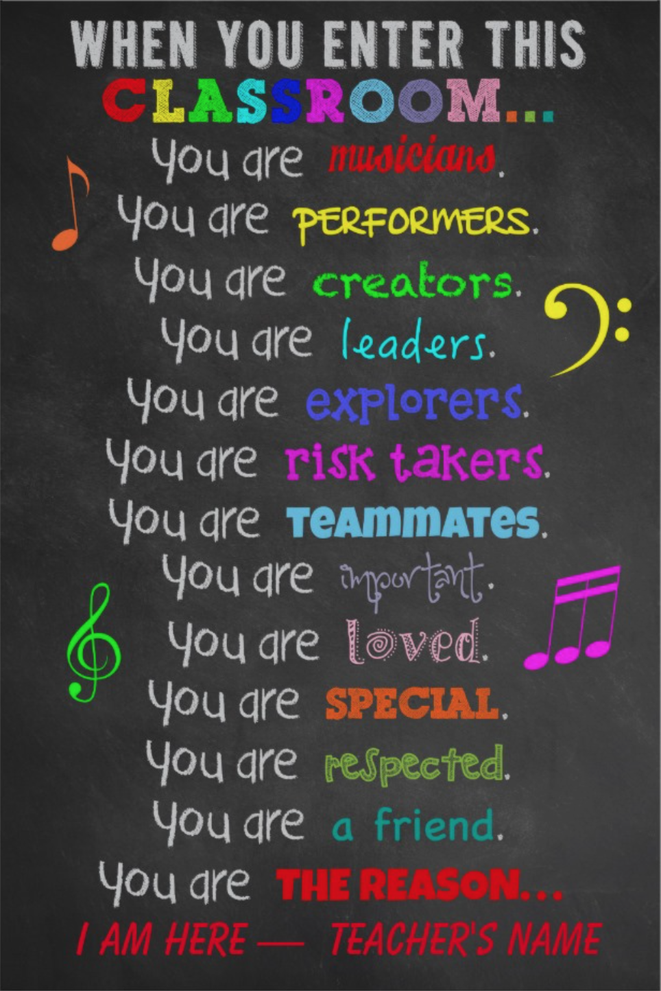 Music Teacher -When You Enter This Classroom Rules Poster |  - -