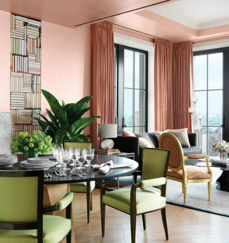 Wandfarbe Altrosa u2013 21 romantische Ideen für Ihre Wohnung - wohnzimmer mit essbereich ideen