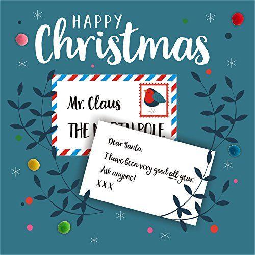 Pom Pom xp010 « Dear Santa » Carte de Noël  Inscription sur l avant -  Joyeux Noël. Monsieur Père Noël, le pôle Nord, cher Père Noël, j ai… 3a20d7a4ec2