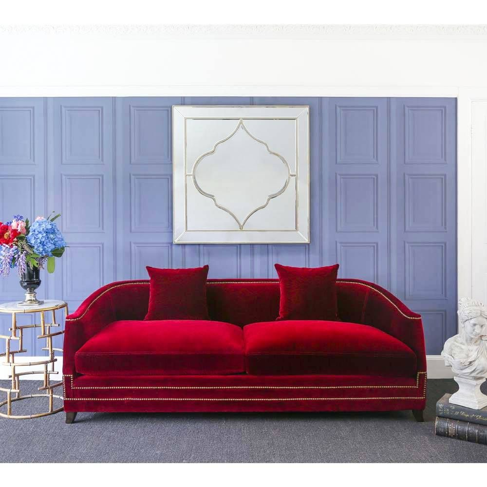 Majestic Crimson Red Velvet Sofa Statement Red Sofa Red Sofa Living Room Red Velvet Sofa French Style Bedroom Furniture