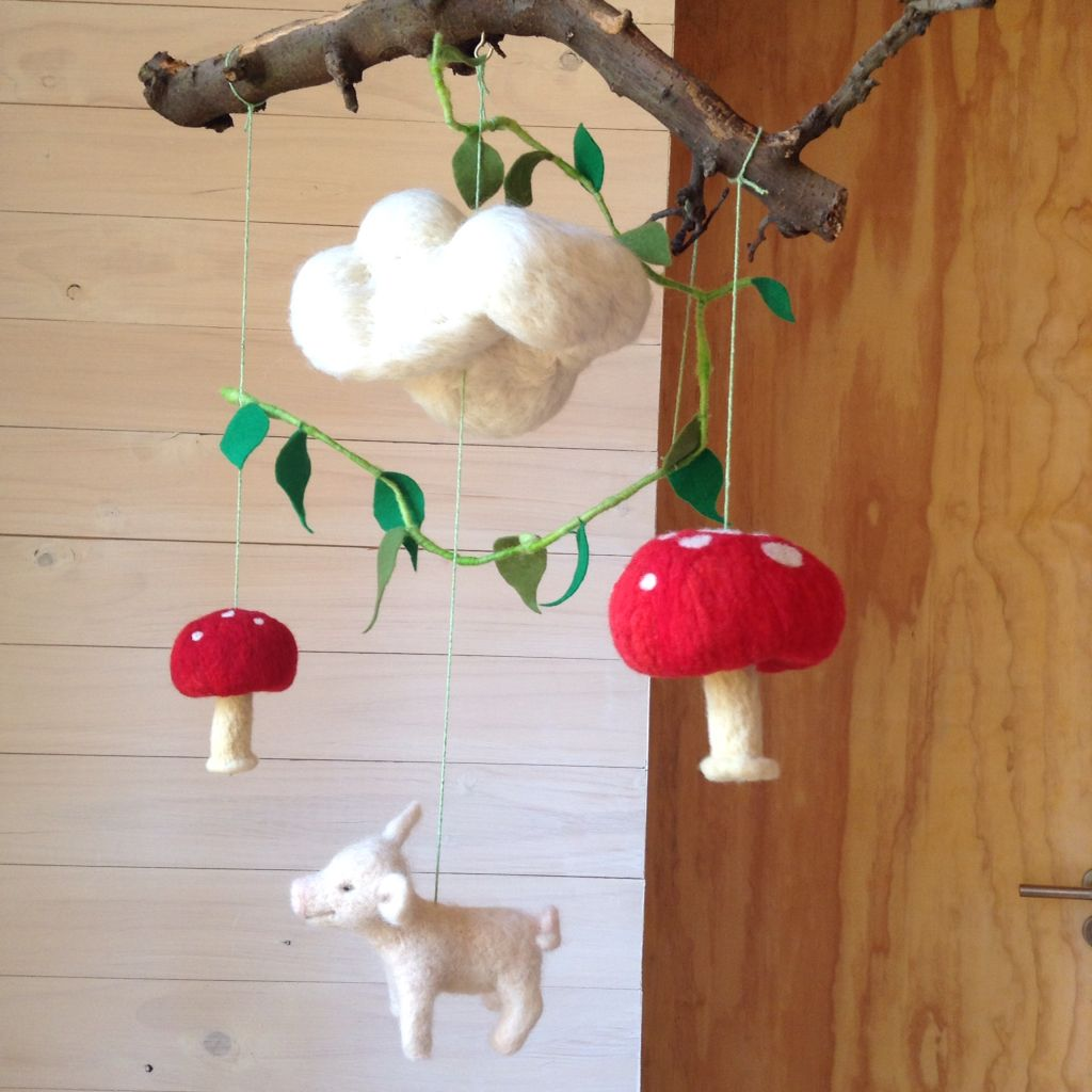 Needle felt mobile with natural branch