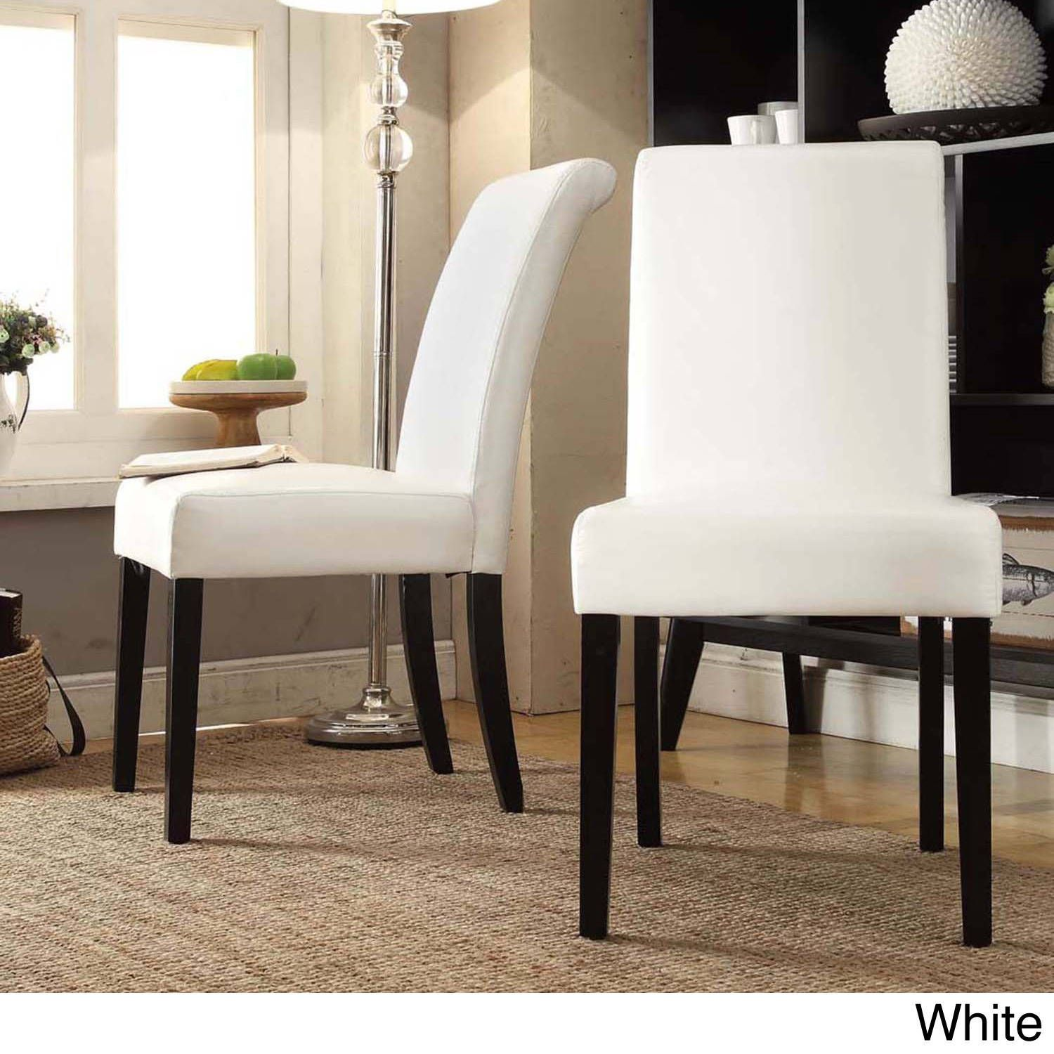Dorian Faux Leather Upholstered Dining Chair Set Of 2 By Inspire Q Bold Faux Leather Dining Chairs Dining Chairs White Leather Chair