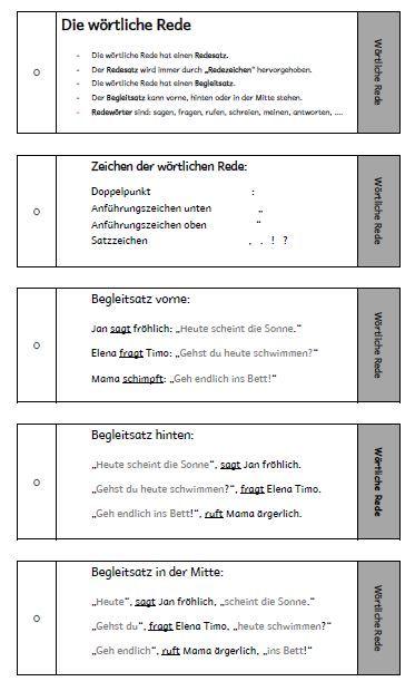 lernkarten zur w rtlichen rede deutsch unterricht schule deutsche schule und w rtliche rede. Black Bedroom Furniture Sets. Home Design Ideas