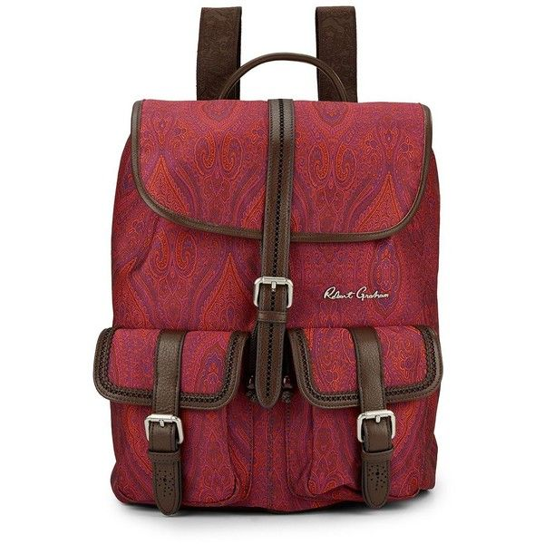 Robert Graham Stellen Paisley-Print Backpack ($100) ❤ liked on Polyvore featuring men's fashion, men's bags, men's backpacks, mens backpack and mens leather backpack