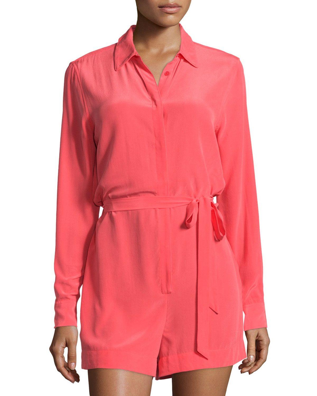 Equipment Earl Long-Sleeve Short Silk Jumpsuit, Paradise Pink, Women's, Size: M, Paradise P