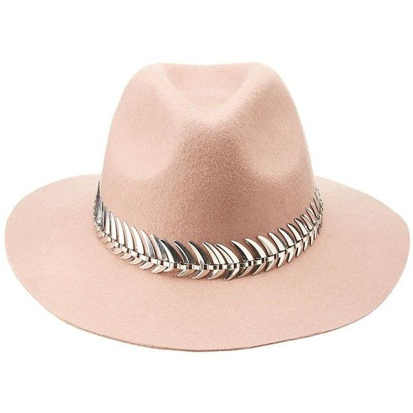 7957b2a61091b Charlotte Russe Mauve Metal-Trim Felt Panama Hat by Charlotte Russe at...  (88 AED) ❤ liked on Polyvore featuring accessories