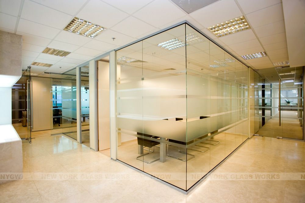 Glass room idea for the pit potentially help eliminate for Office wall interior