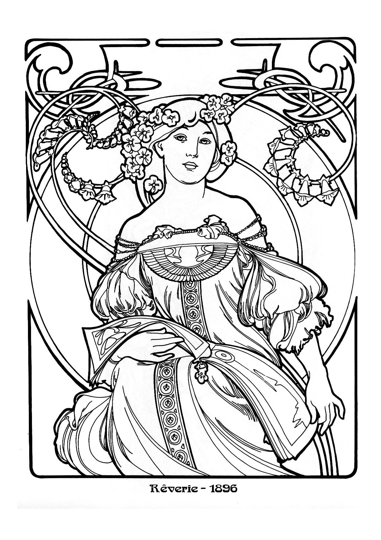 alphonse mucha coloring page  google search  kunst
