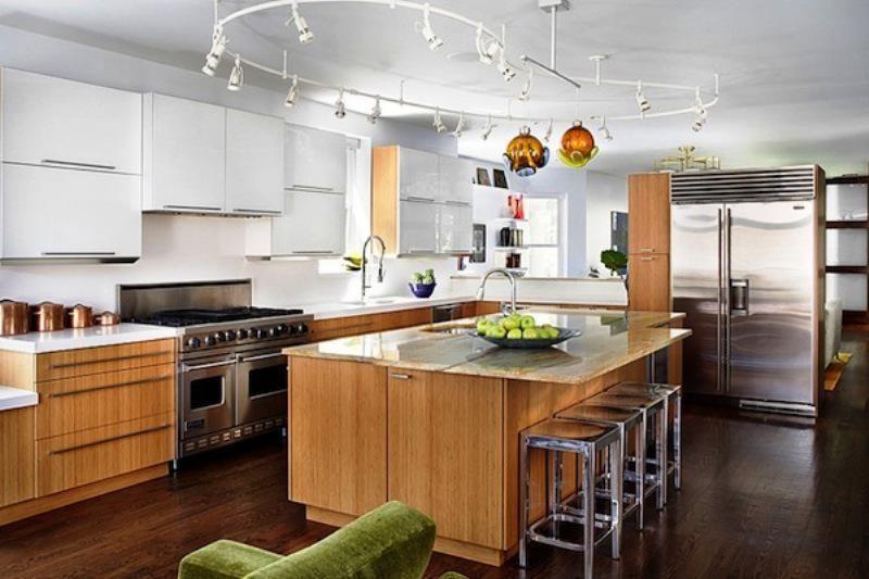 Contemporary Track Lighting Kitchen Design Small Contemporary
