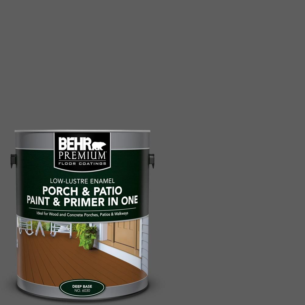 BEHR Premium 1 Gal. #N520 6 Asphalt Gray Low Lustre Interior/Exterior Paint  And Primer In One Porch And Patio Floor Paint 603001   The Home Depot