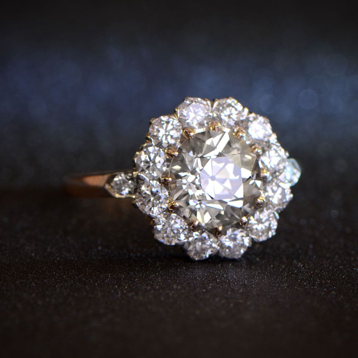 The Yorkshire Ring Diamond Cluster Engagement Ring Diamond Engagement Rings Vintage Vintage Engagement Rings
