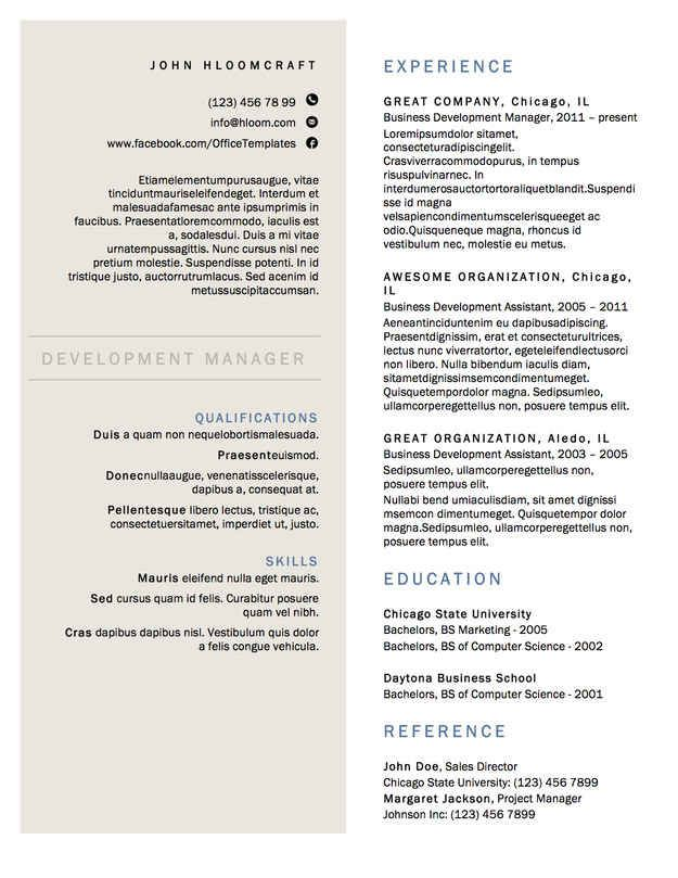 A Minimalist Option With Two Columns Resume Template Free Resume Design Free Resume Design