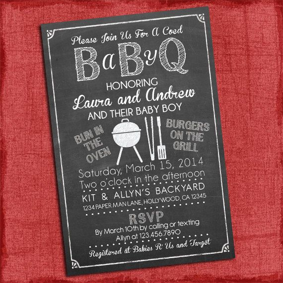 Printable Baby Q Shower Invitation Barbecue baby by PuzzlePrints