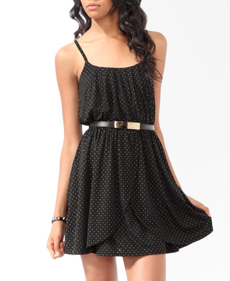 Studded Tulip Skater Dress Forever21 2019572014 Black Dress