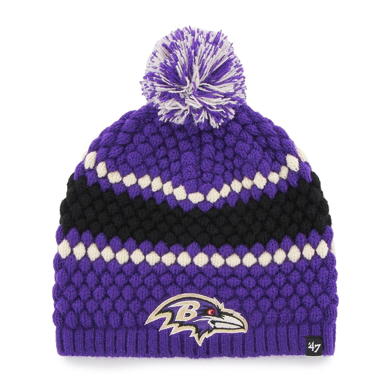 03c78afadffb9 Amazon.com   NFL Baltimore Ravens Women s  47 Leslie Knit Beanie with Pom