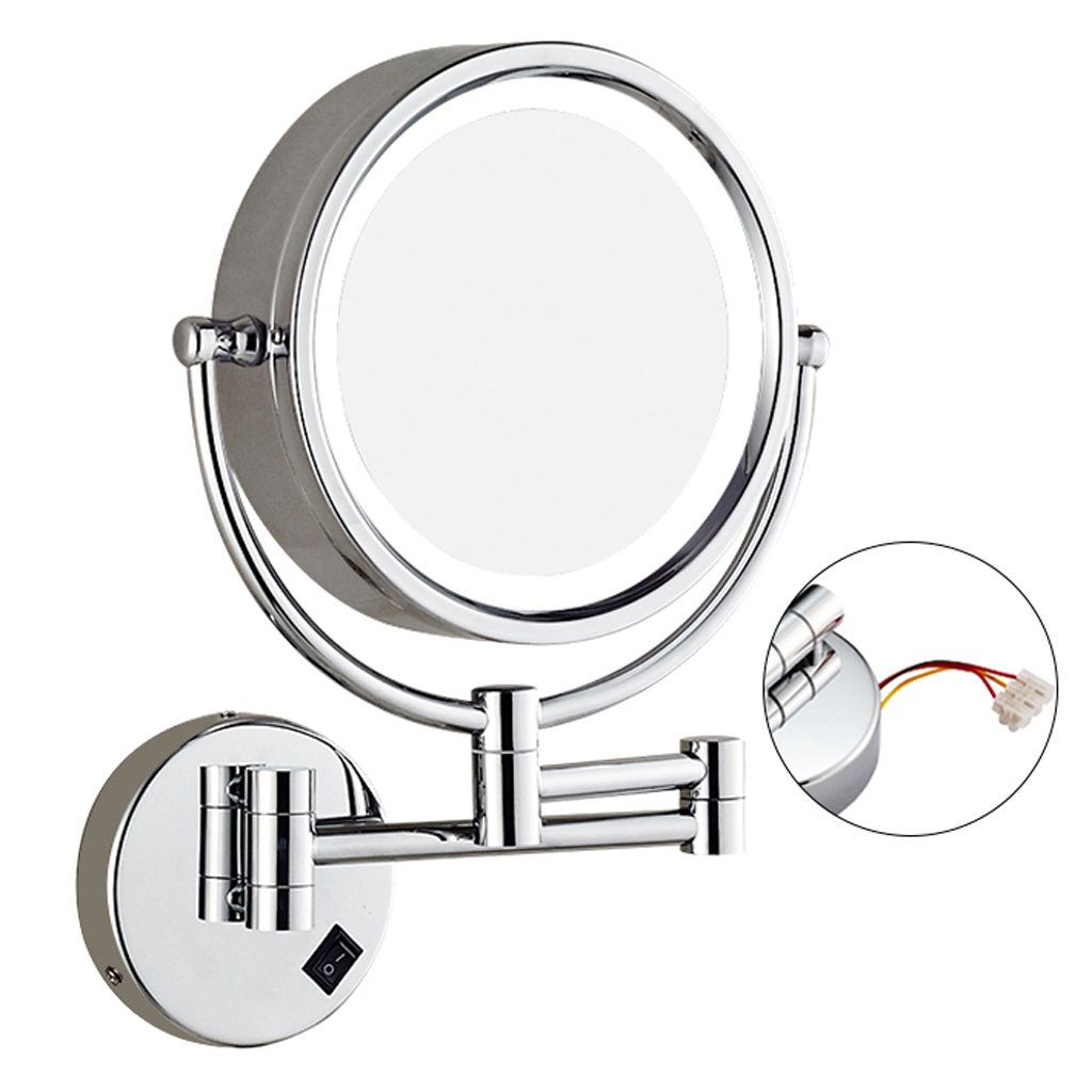 Makeup Mirror Led With Wallmounted Doublesided Makeup Mirror Bathroom Folding Telescopic Beauty Mirror 3 Times Magnifying Beauty Mirror Bathroom Mirror Mirror