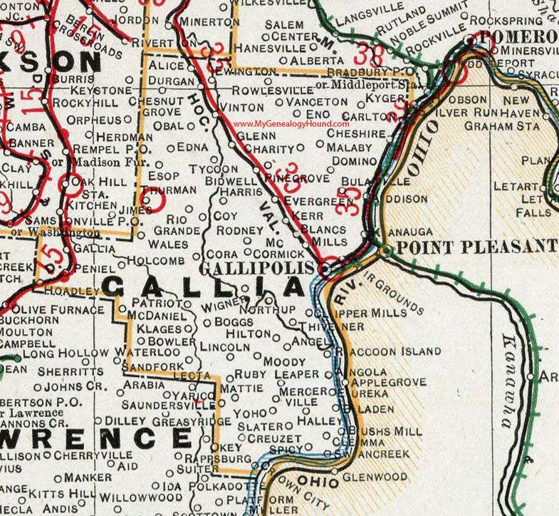 Gallia County Ohio 1901 Map Gallipolis Vinton Bidwell Rio Grande Addison Kerr Eureka Crown City Leaper Gallia County Ohio History Gallipolis Ohio