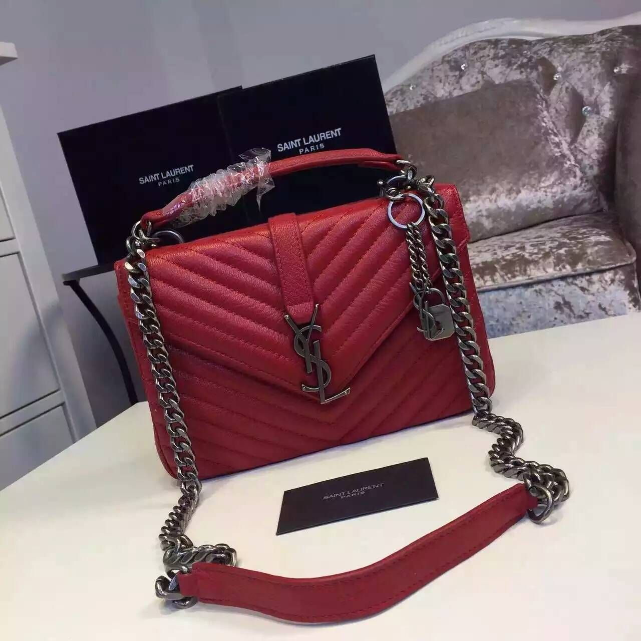 27c3c0de8d 2016 New Saint Laurent Bag Cheap Sale-Saint Laurent Classic Medium COLLEGE  MONOGRAM Bag in Red MATELASSE Leather