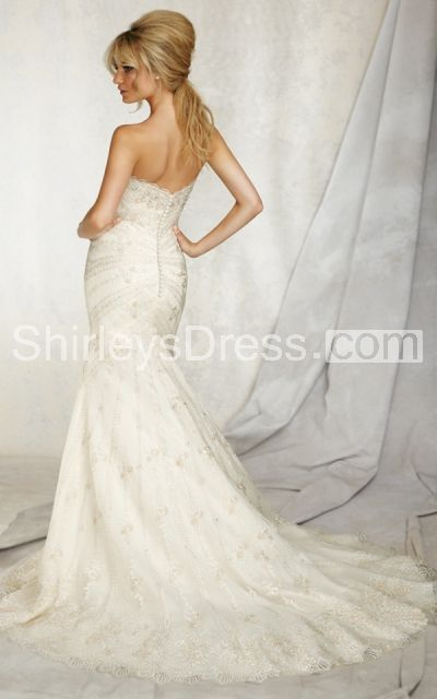Sweetheart Sheath Wedding Dress With Embroidery on Net