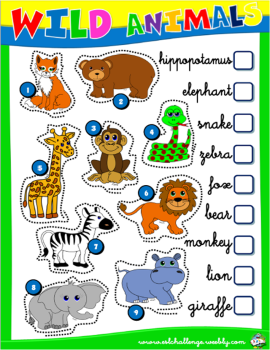 wild animals worksheet 1 english with games 1 pinterest wild animals worksheets and. Black Bedroom Furniture Sets. Home Design Ideas