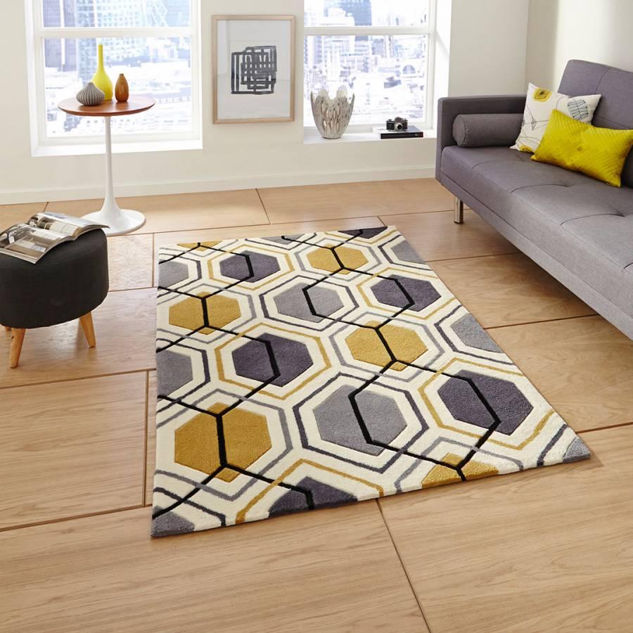 Think Rugs Grey Yellow Hong Kong Rug 150x230cm Grey Yellow Living Room Rugs In Living Room Room Rugs