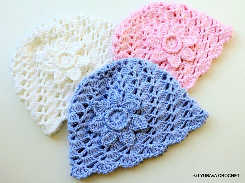 Baby hat crochet pattern baby hat with flower pattern