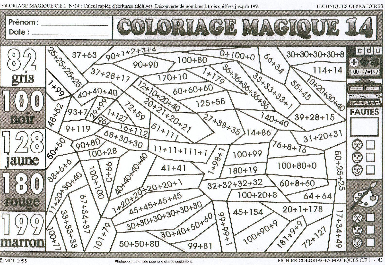 Coloriage Magique Ce1  colorier Dessin  imprimer