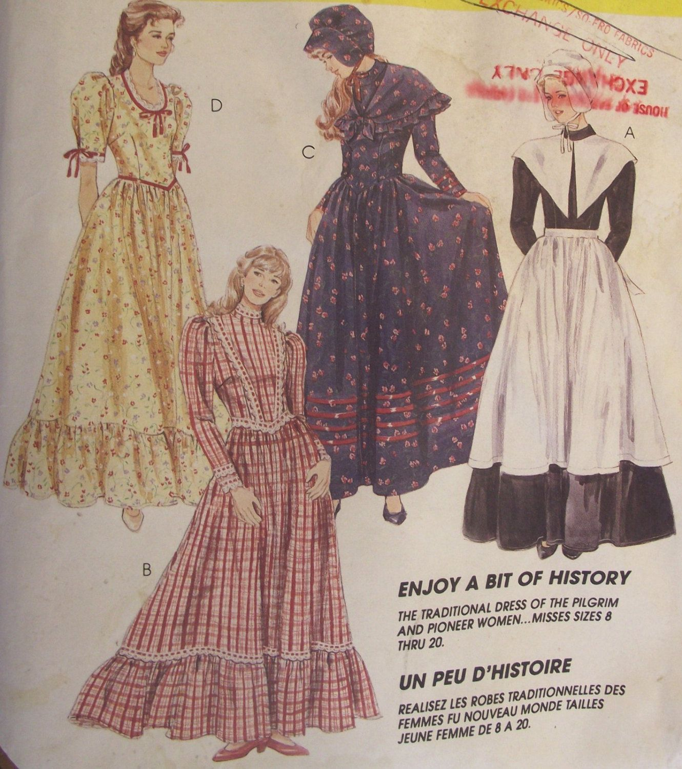 Pilgrim Pioneer Costumes McCall's 7563 Sewing Pattern UNCUT Long Dresses Apron Hat Shawl Ruffles 8-12 Halloween Historical Reinactment #49E by AdriennesAtticStore on Etsy