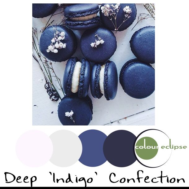 deep indigo macaroons with color palette, pantone reflecting pond, dark navy, touch of green, cool white