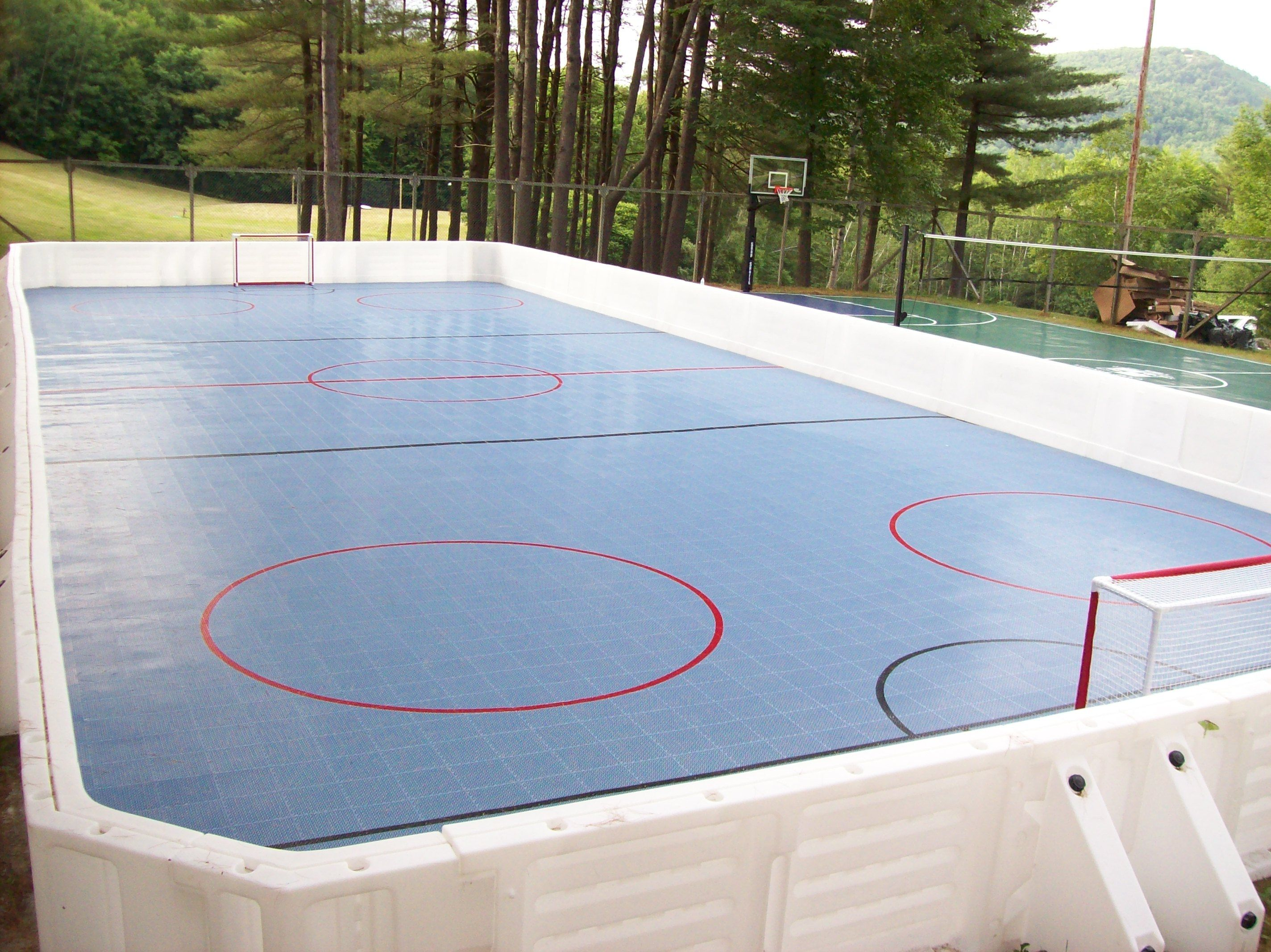 Hockey Rink Set Up At Camp With ProWall Dasher Boards
