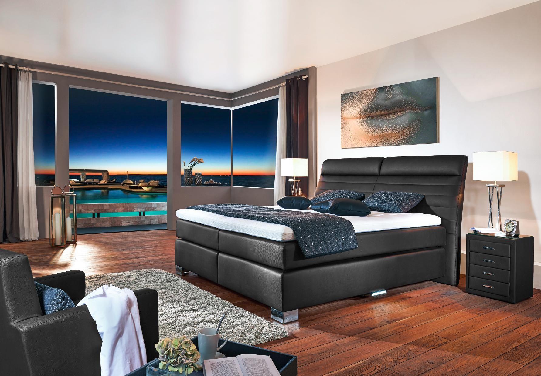 Boxspringbett 200 220 cm in schwarz in 2019 schlafzimmer for Boxspringbett schlafzimmer