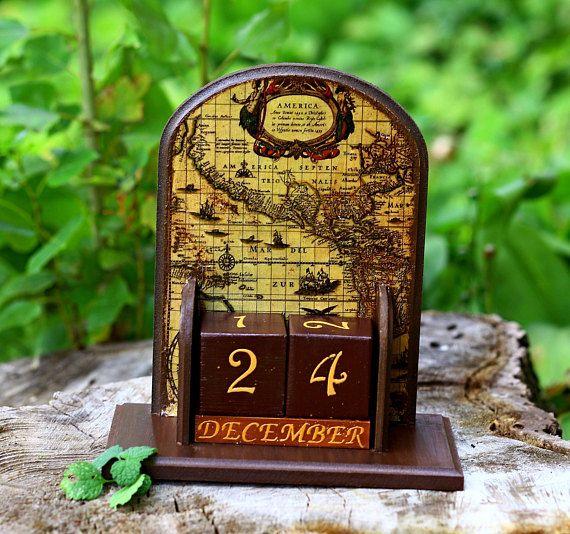 Wooden perpetual calendar usa map office desk accessory men old usa map perpetual calendar desk accessory men old world map gumiabroncs Images