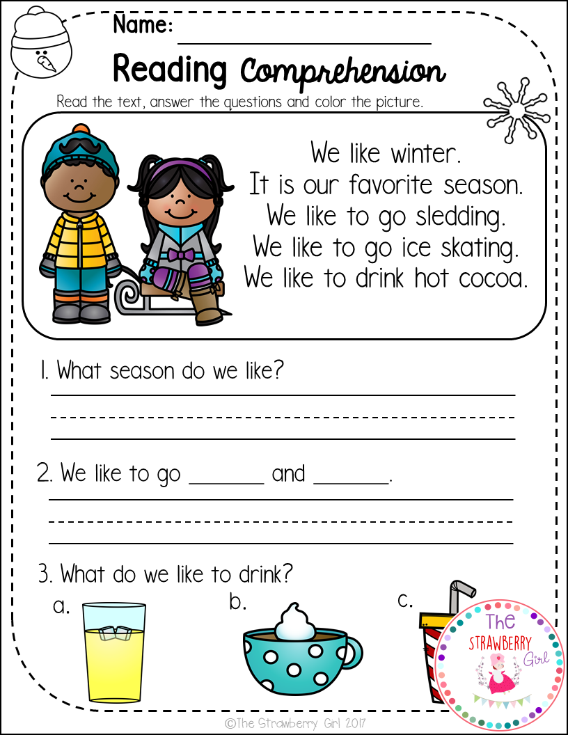 - FREE Kindergarten Reading Comprehension Passages - Winter