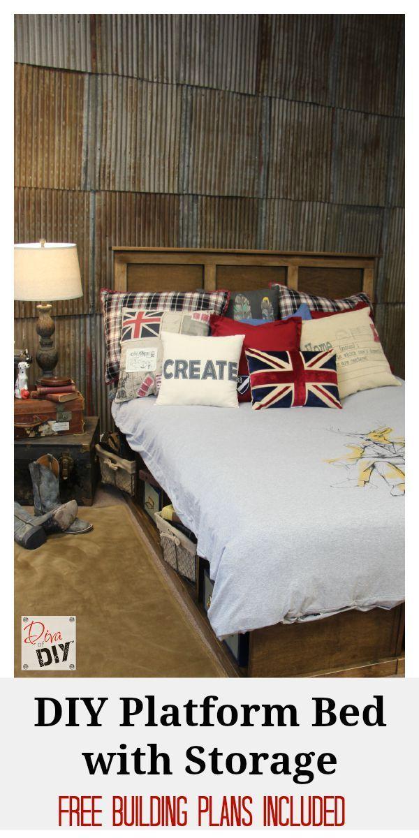 Bedroom Design Tool Free Platform Bed With Storage Tutorial  Diy Platform Bed Platform