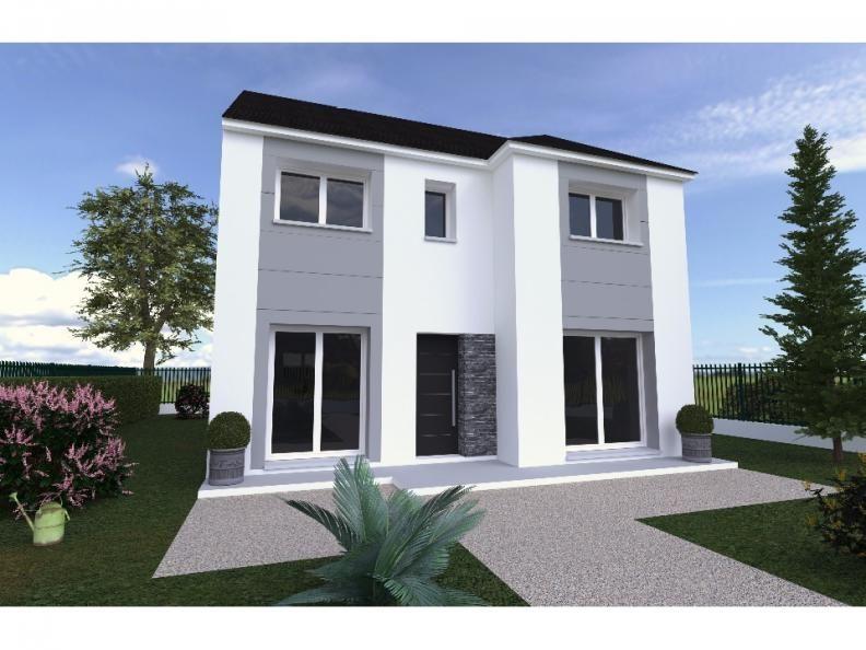 Cette maison R+1 moderne avec son fronton cintré comprenant au RDC - salon sejour cuisine ouverte