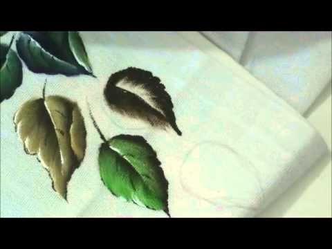 pintando vários tipos de folhas em tecido - YouTube