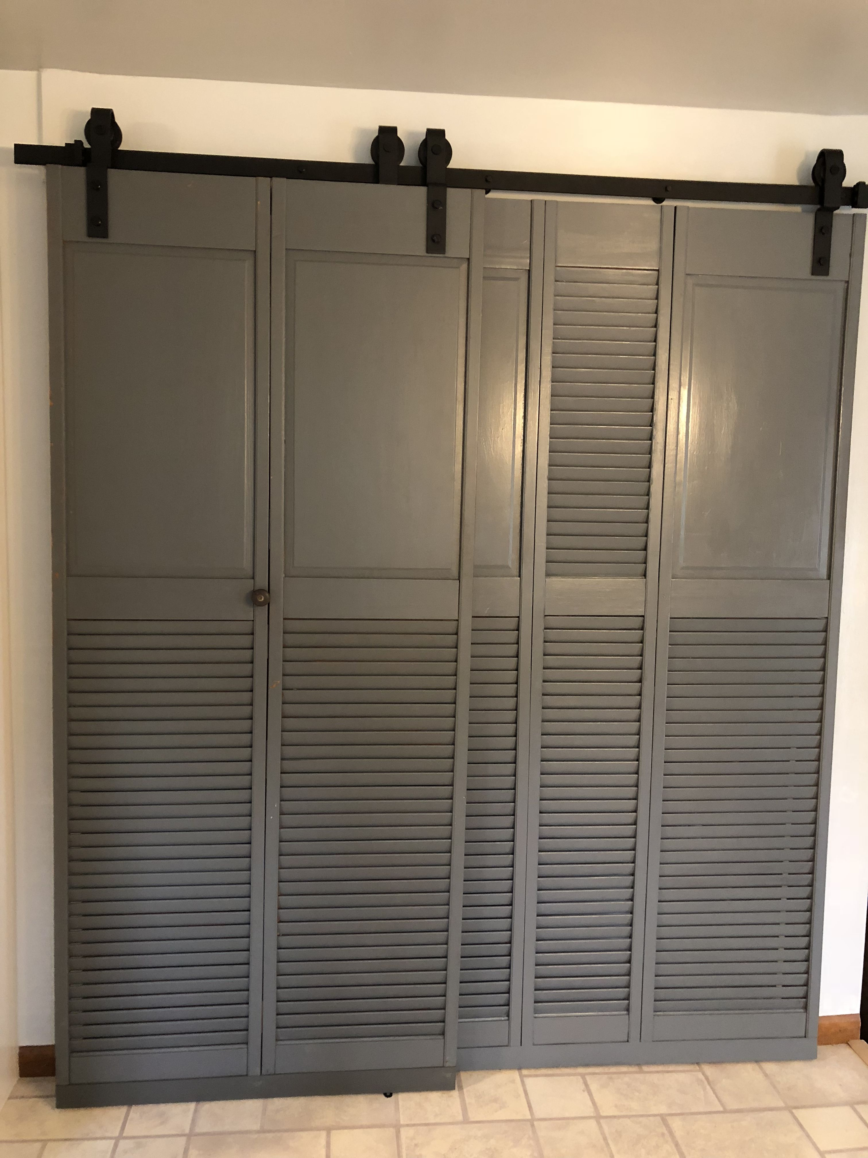Barn Slider Doors Up Cycled Your Old Bifold Louvered Doors Into