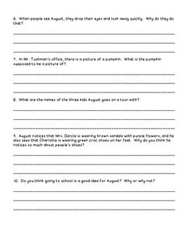 002 Wonder RJ Palacio Comprehension Questions Novel Study