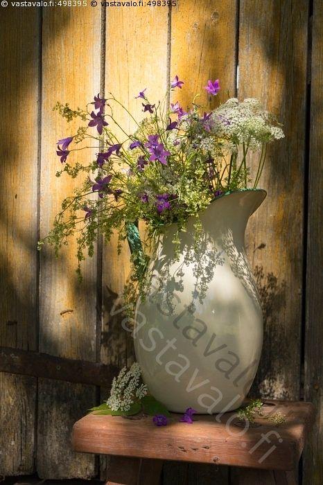 Summer Flowers in Light and Shadow – Enamel Jug Enameled Jug